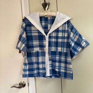 Tory Burch Cotton Poplin Plaid Sailor Top